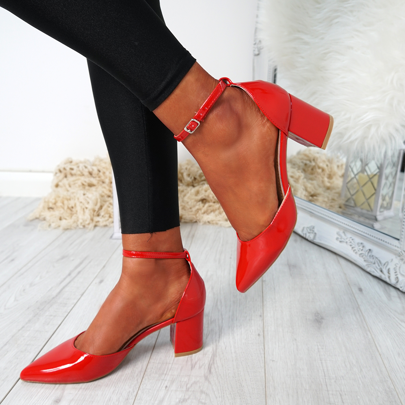 WOMENS-LADIES-ANKLE-STRAP-BLOCK-HEEL-PUMPS-POINTED-TOE-WORK-PARTY-SHOES-SIZE thumbnail 19