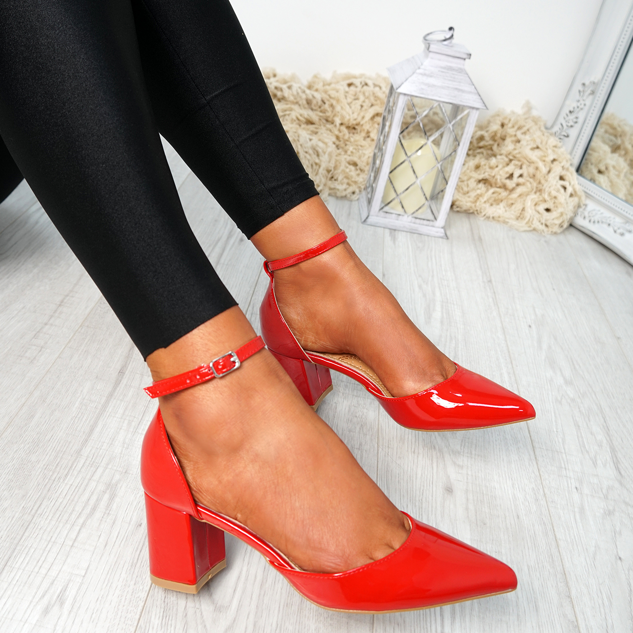 WOMENS-LADIES-ANKLE-STRAP-BLOCK-HEEL-PUMPS-POINTED-TOE-WORK-PARTY-SHOES-SIZE thumbnail 20