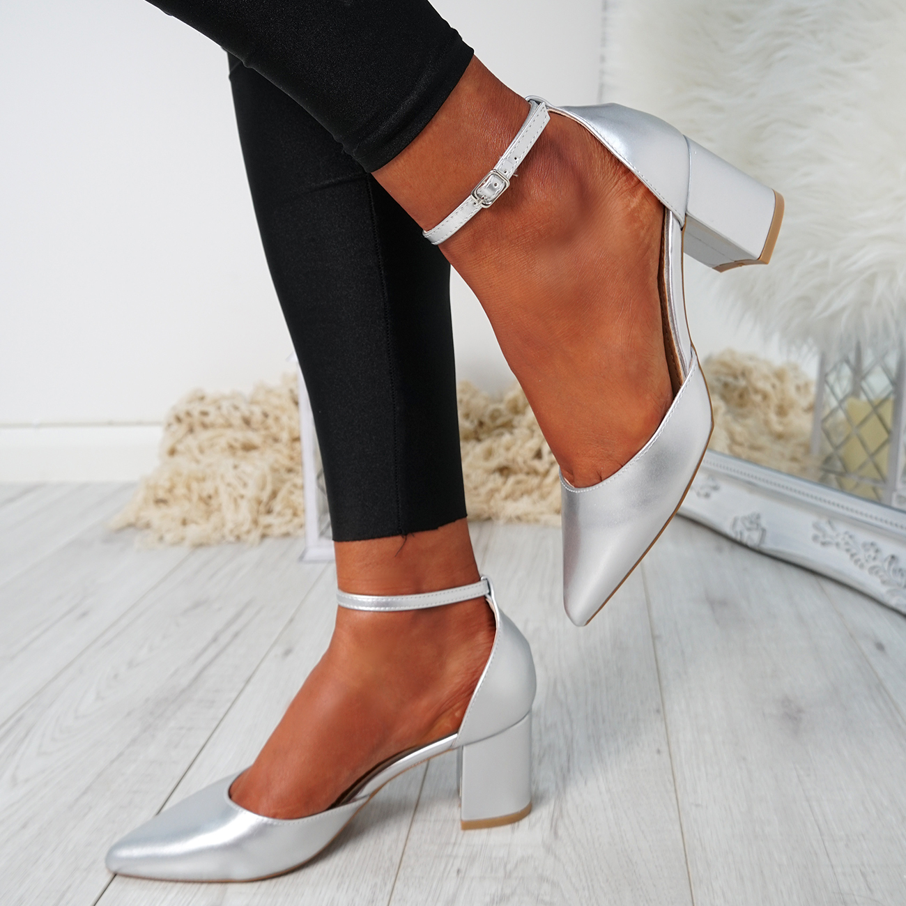 WOMENS-LADIES-ANKLE-STRAP-BLOCK-HEEL-PUMPS-POINTED-TOE-WORK-PARTY-SHOES-SIZE thumbnail 23