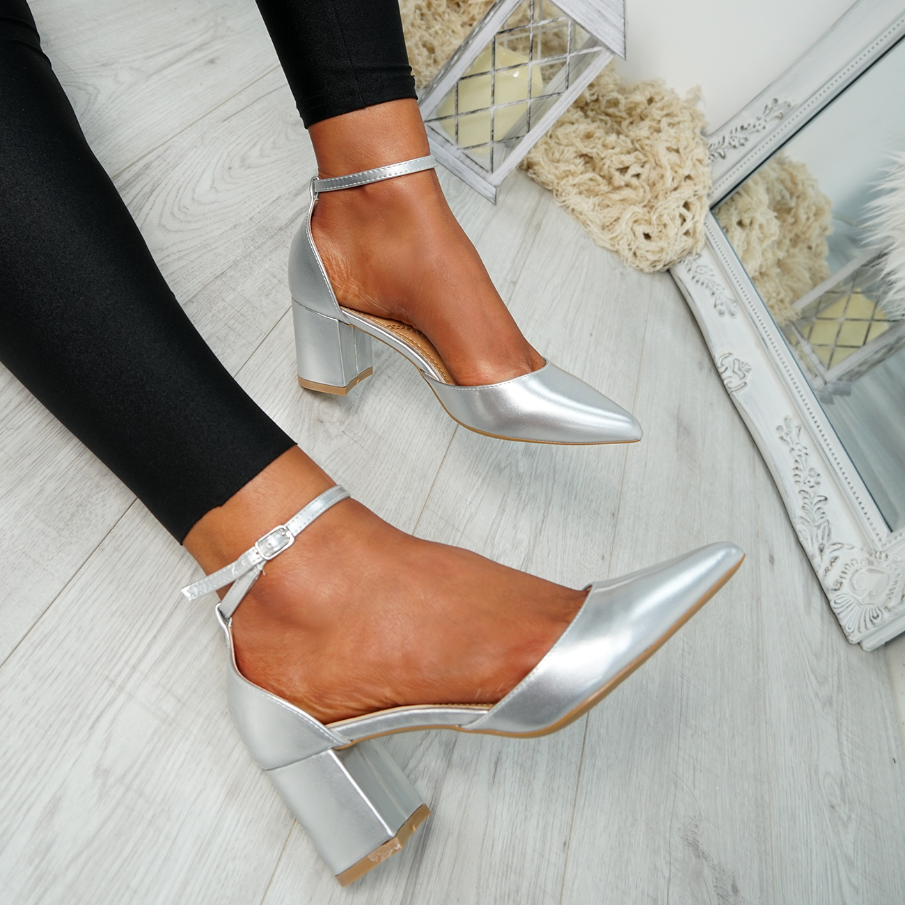 WOMENS-LADIES-ANKLE-STRAP-BLOCK-HEEL-PUMPS-POINTED-TOE-WORK-PARTY-SHOES-SIZE thumbnail 24
