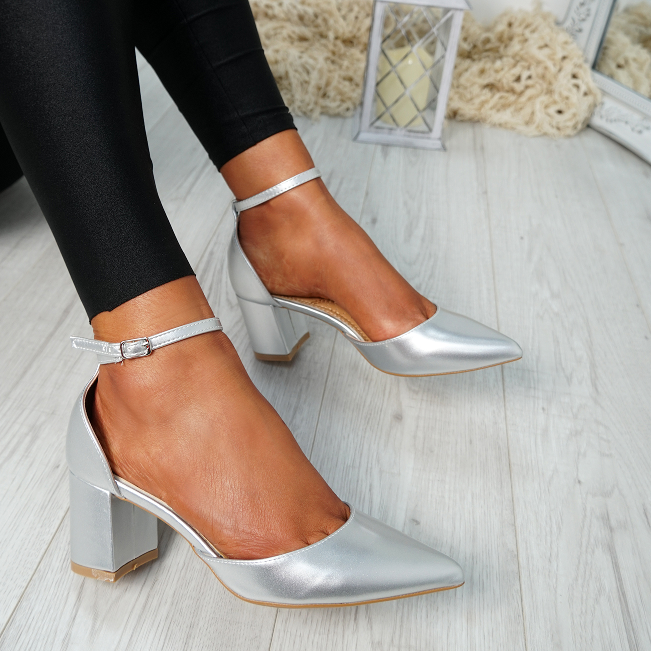 WOMENS-LADIES-ANKLE-STRAP-BLOCK-HEEL-PUMPS-POINTED-TOE-WORK-PARTY-SHOES-SIZE thumbnail 25