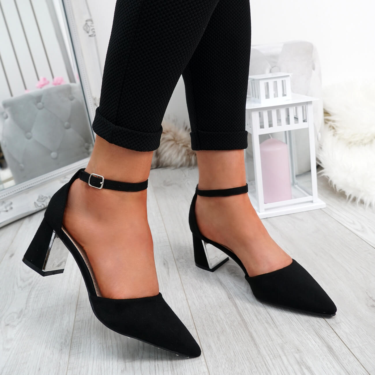 WOMENS-LADIES-ANKLE-STRAP-POINTED-HIGH-BLOCK-HEEL-PUMPS-COURT-SHOES-SIZE thumbnail 7
