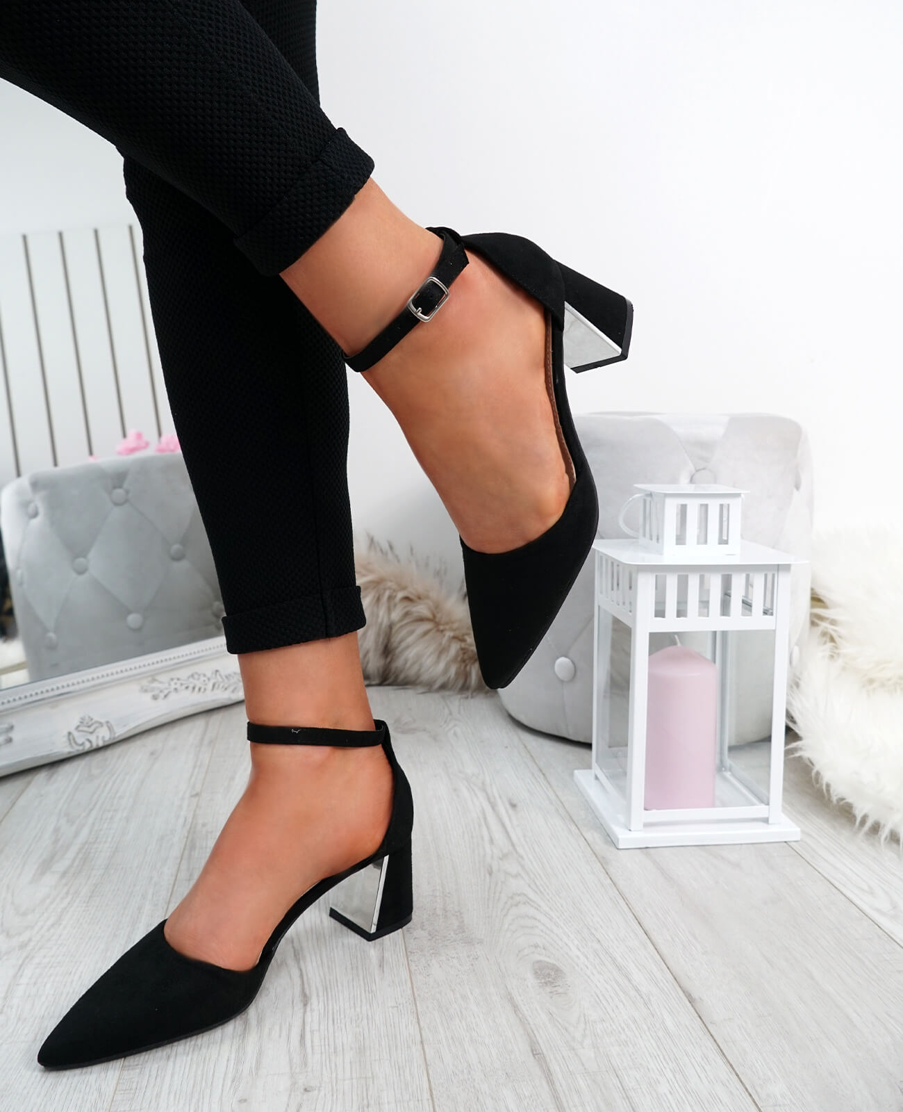 WOMENS-LADIES-ANKLE-STRAP-POINTED-HIGH-BLOCK-HEEL-PUMPS-COURT-SHOES-SIZE thumbnail 8