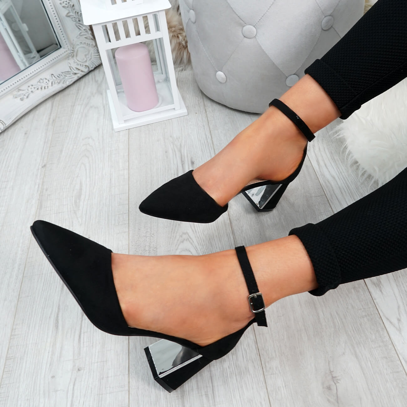 WOMENS-LADIES-ANKLE-STRAP-POINTED-HIGH-BLOCK-HEEL-PUMPS-COURT-SHOES-SIZE thumbnail 9