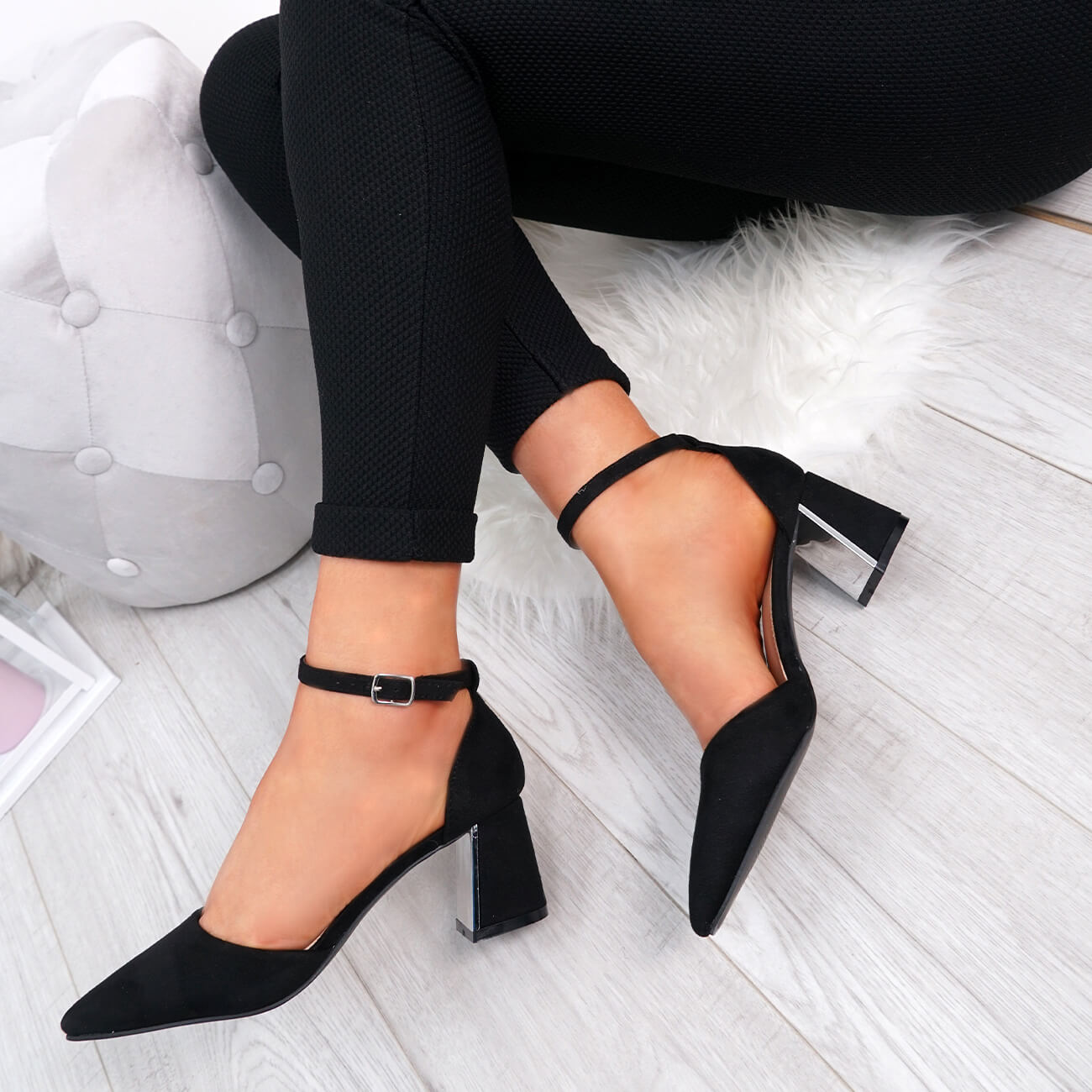 WOMENS-LADIES-ANKLE-STRAP-POINTED-HIGH-BLOCK-HEEL-PUMPS-COURT-SHOES-SIZE thumbnail 10