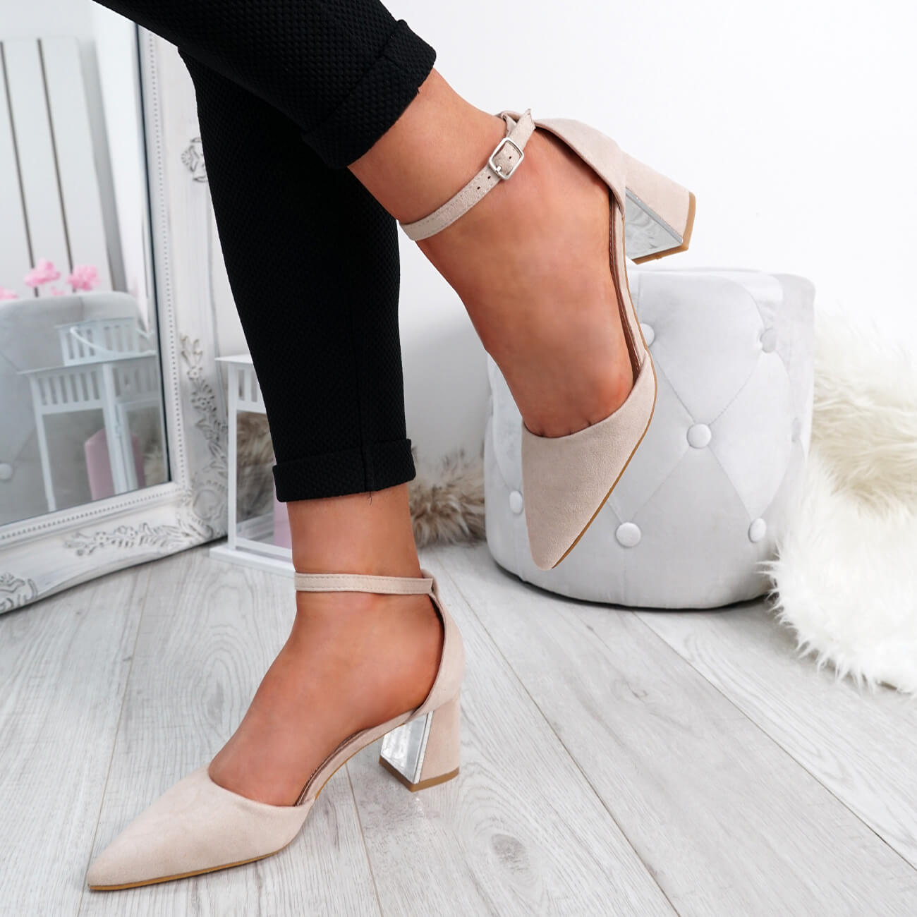 WOMENS-LADIES-ANKLE-STRAP-POINTED-HIGH-BLOCK-HEEL-PUMPS-COURT-SHOES-SIZE thumbnail 12
