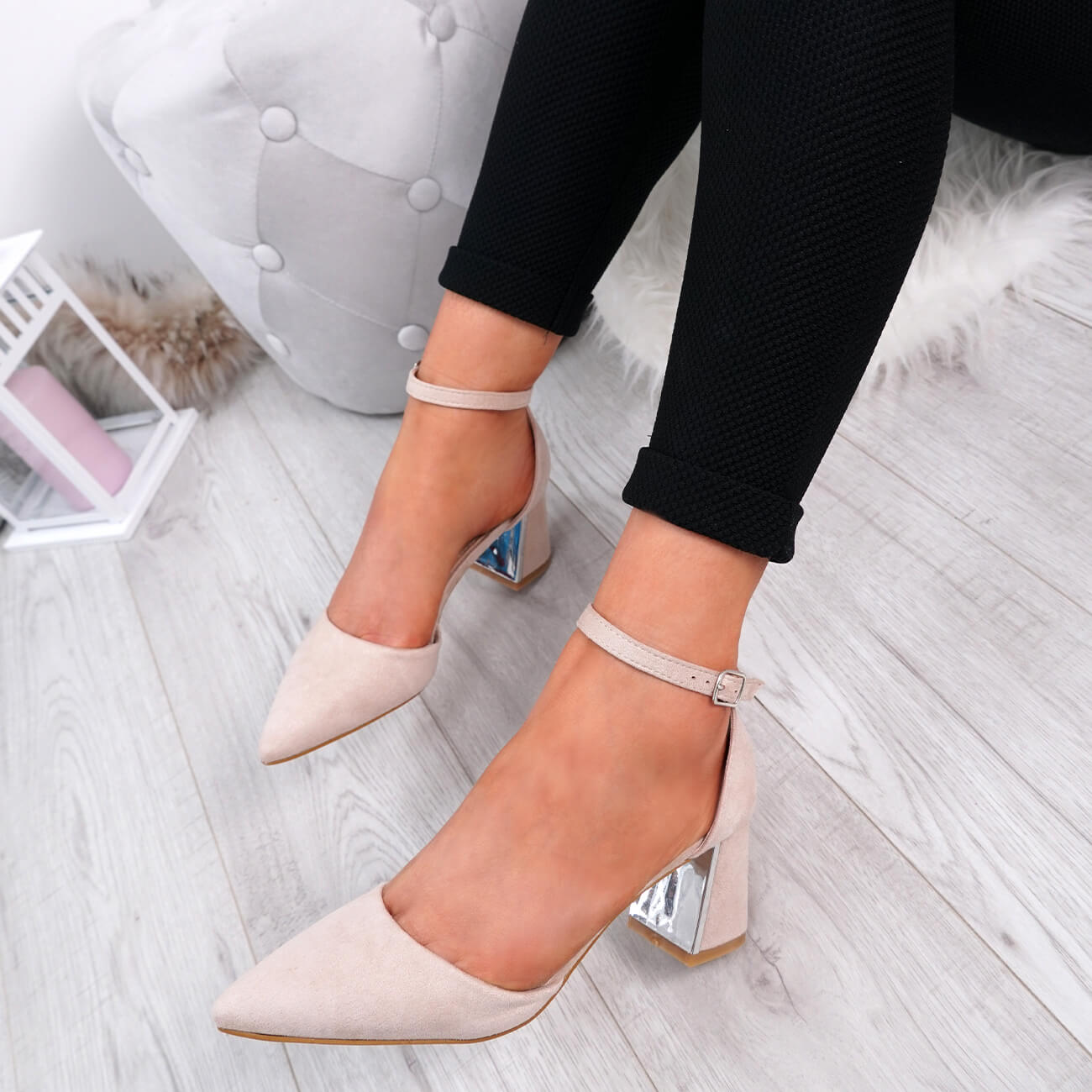 WOMENS-LADIES-ANKLE-STRAP-POINTED-HIGH-BLOCK-HEEL-PUMPS-COURT-SHOES-SIZE thumbnail 13