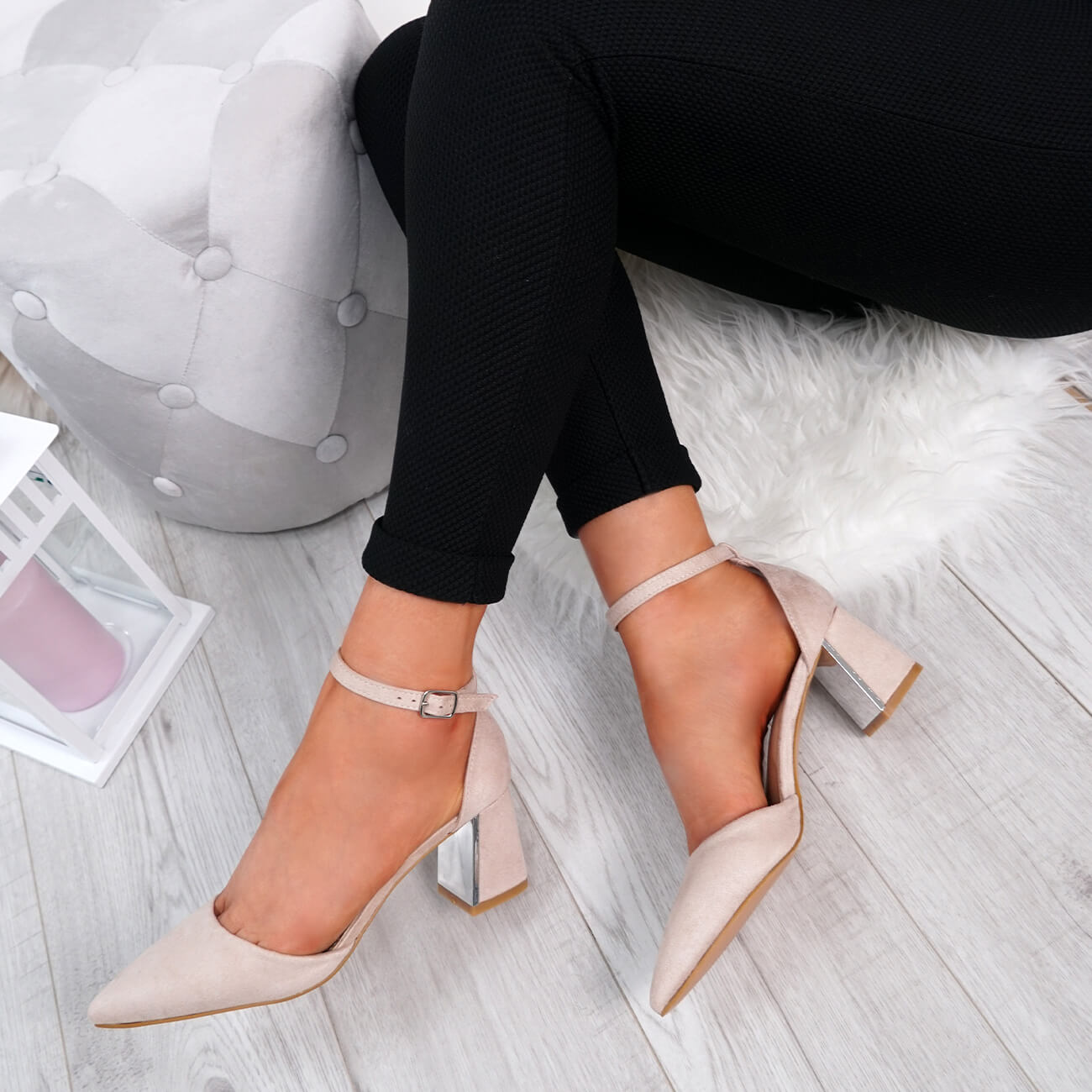WOMENS-LADIES-ANKLE-STRAP-POINTED-HIGH-BLOCK-HEEL-PUMPS-COURT-SHOES-SIZE thumbnail 14