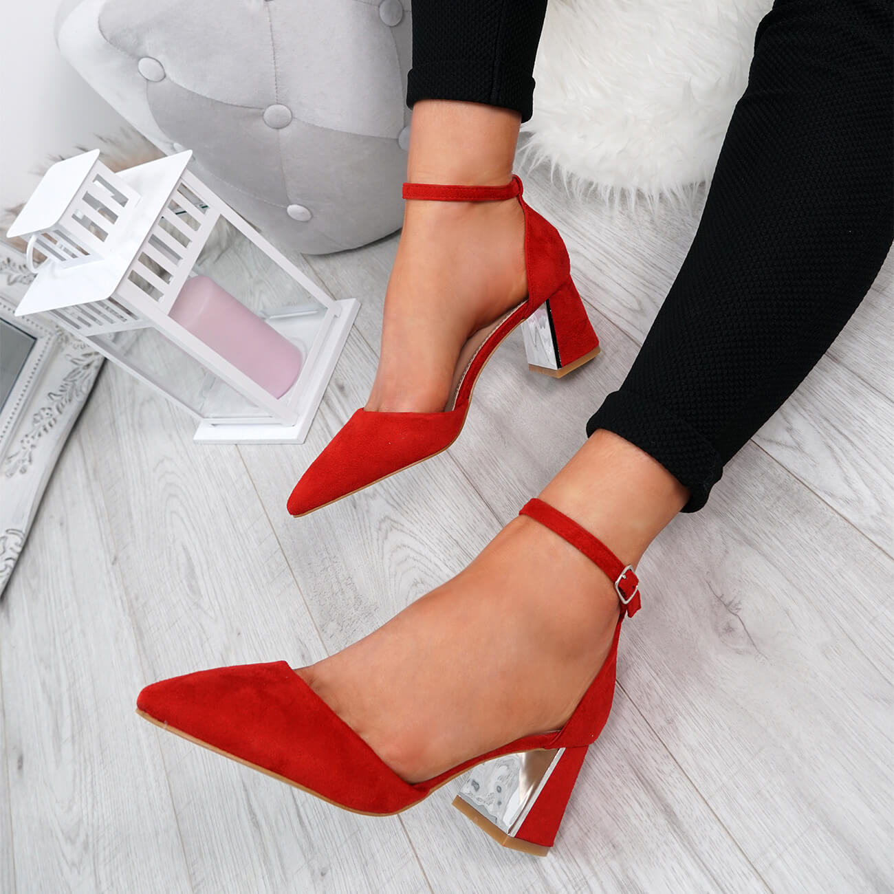 WOMENS-LADIES-ANKLE-STRAP-POINTED-HIGH-BLOCK-HEEL-PUMPS-COURT-SHOES-SIZE thumbnail 17