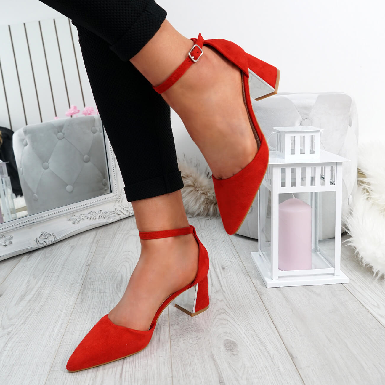 WOMENS-LADIES-ANKLE-STRAP-POINTED-HIGH-BLOCK-HEEL-PUMPS-COURT-SHOES-SIZE thumbnail 19