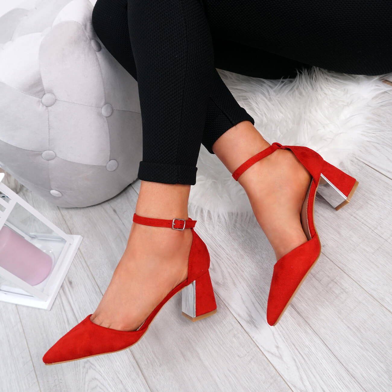 WOMENS-LADIES-ANKLE-STRAP-POINTED-HIGH-BLOCK-HEEL-PUMPS-COURT-SHOES-SIZE thumbnail 20