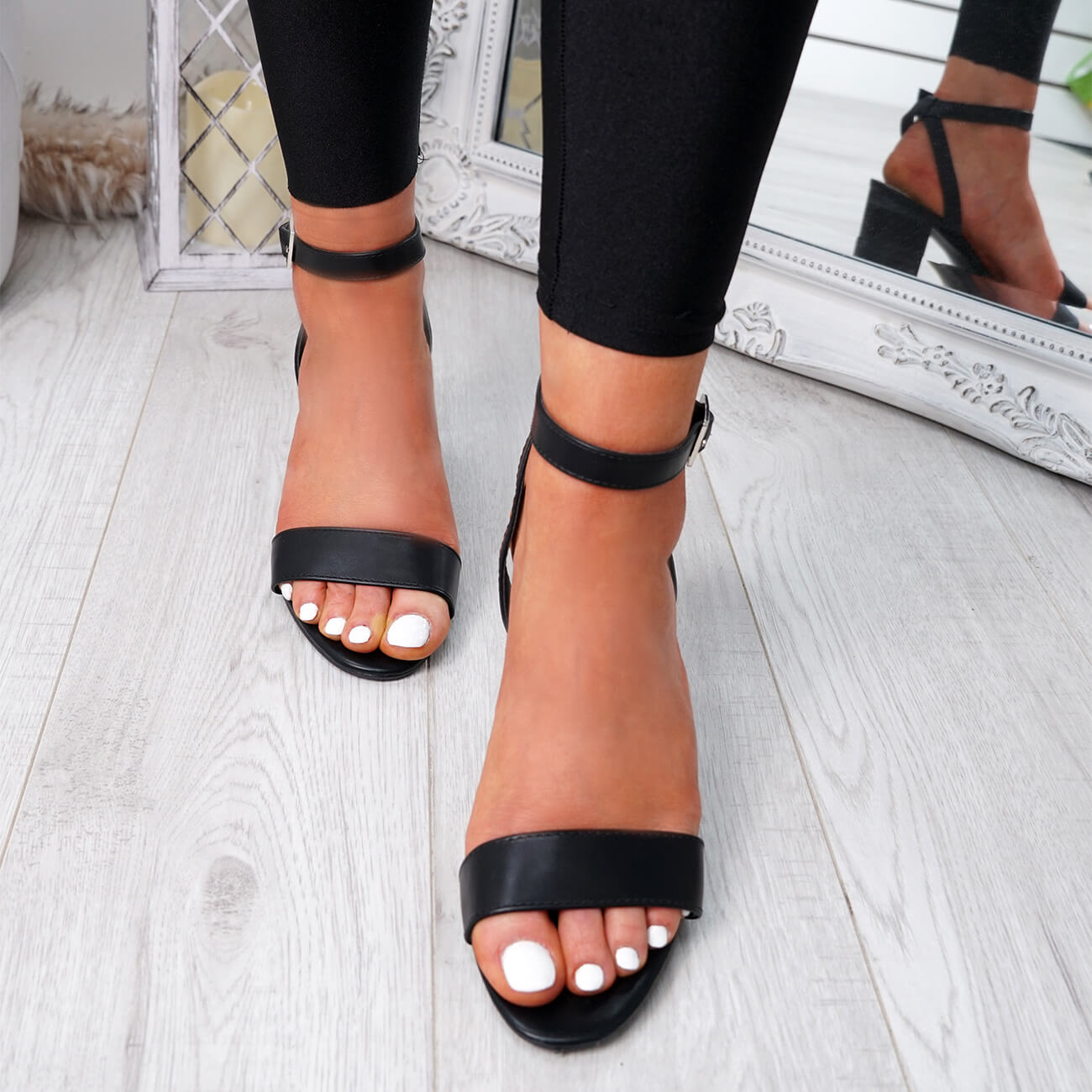 WOMENS-LADIES-PEEP-TOE-HIGH-BLOCK-HEEL-SANDALS-ANKLE-STRAP-PARTY-SHOES-SIZE thumbnail 7
