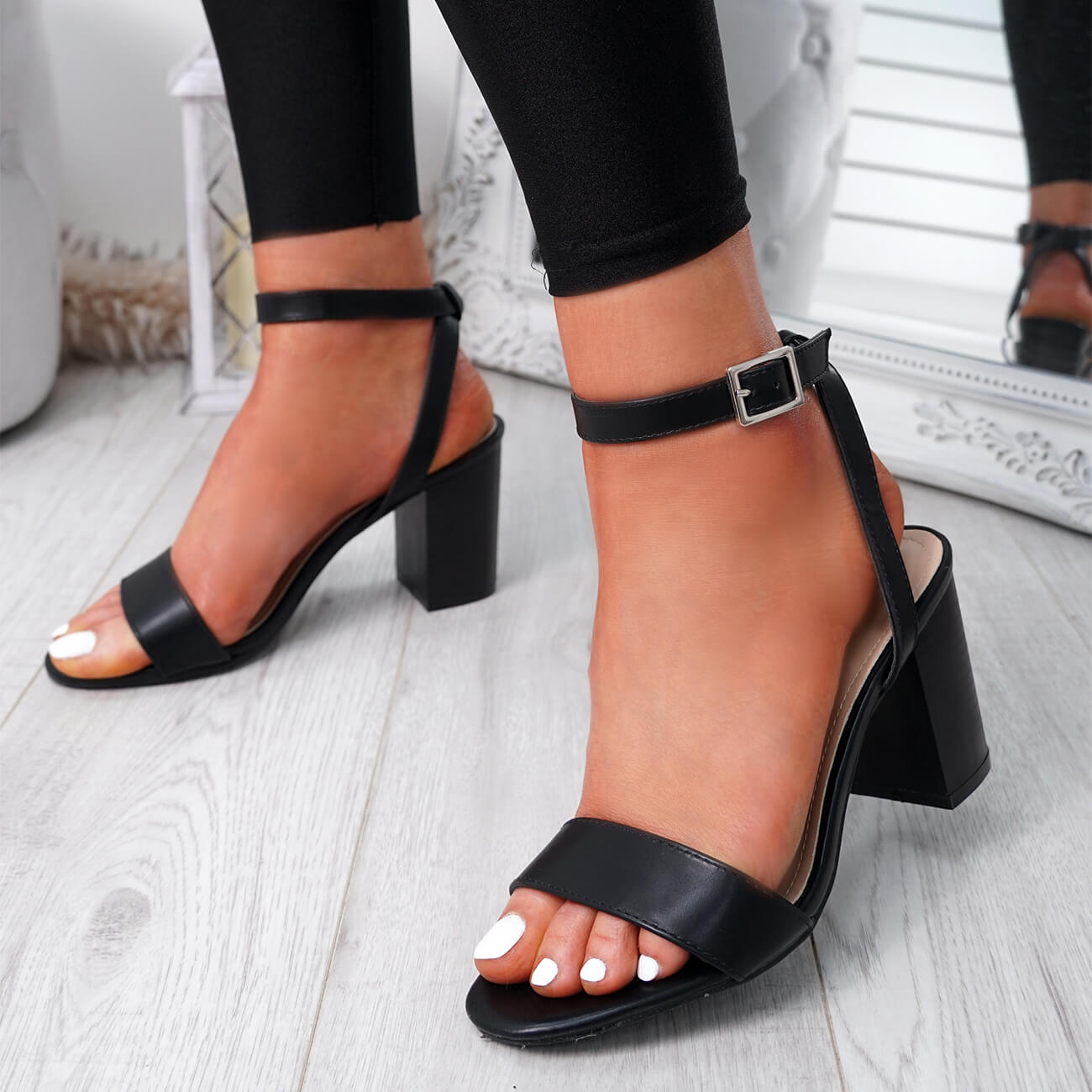 WOMENS-LADIES-PEEP-TOE-HIGH-BLOCK-HEEL-SANDALS-ANKLE-STRAP-PARTY-SHOES-SIZE thumbnail 8