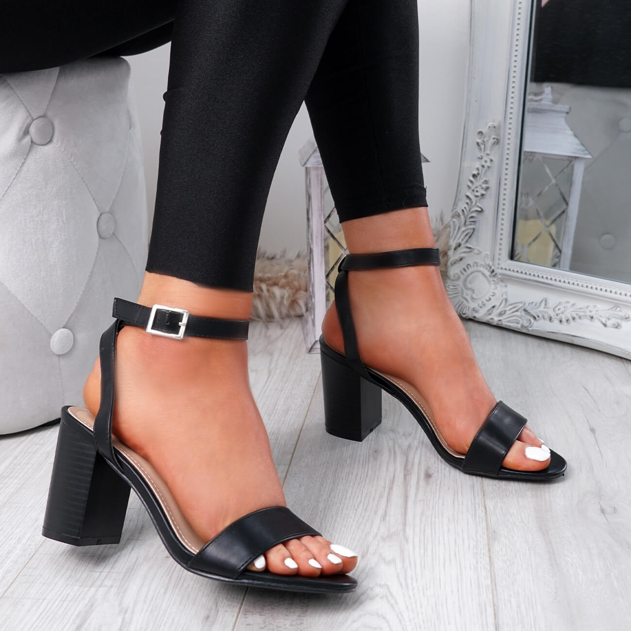 WOMENS-LADIES-PEEP-TOE-HIGH-BLOCK-HEEL-SANDALS-ANKLE-STRAP-PARTY-SHOES-SIZE thumbnail 9