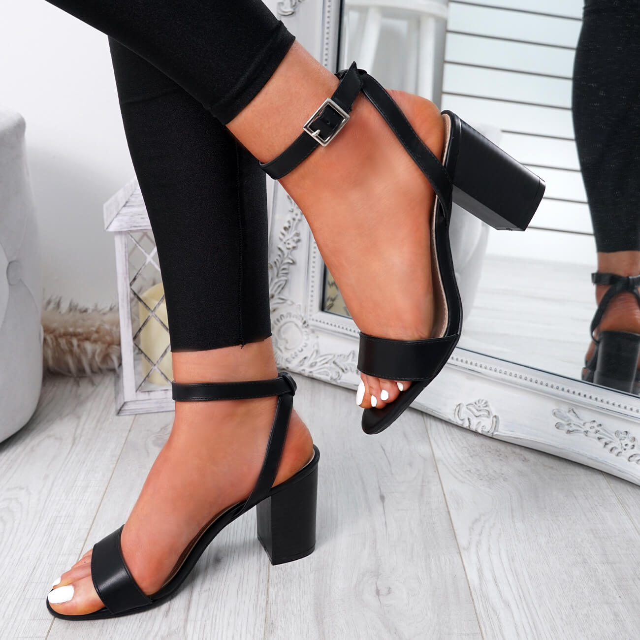 WOMENS-LADIES-PEEP-TOE-HIGH-BLOCK-HEEL-SANDALS-ANKLE-STRAP-PARTY-SHOES-SIZE thumbnail 10