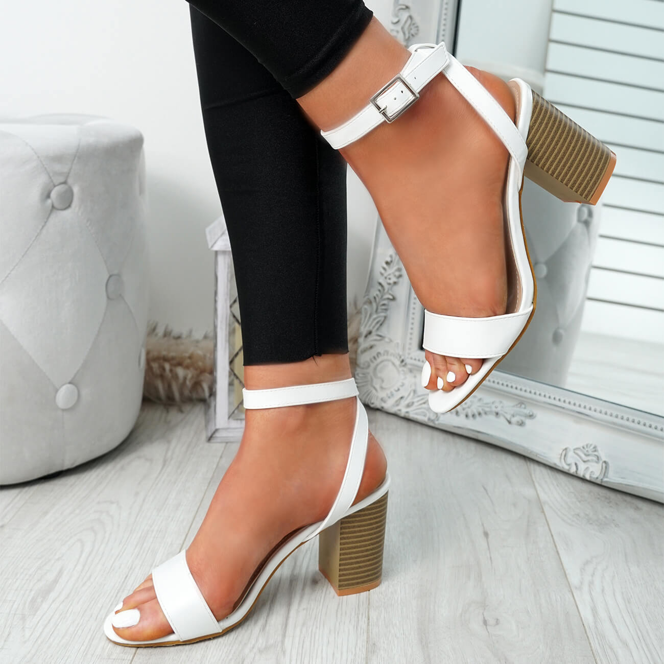 WOMENS-LADIES-PEEP-TOE-HIGH-BLOCK-HEEL-SANDALS-ANKLE-STRAP-PARTY-SHOES-SIZE thumbnail 18