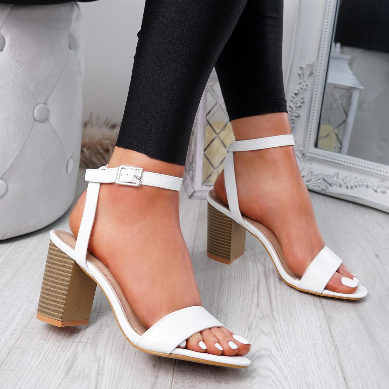 WOMENS-LADIES-PEEP-TOE-HIGH-BLOCK-HEEL-SANDALS-ANKLE-STRAP-PARTY-SHOES-SIZE thumbnail 19