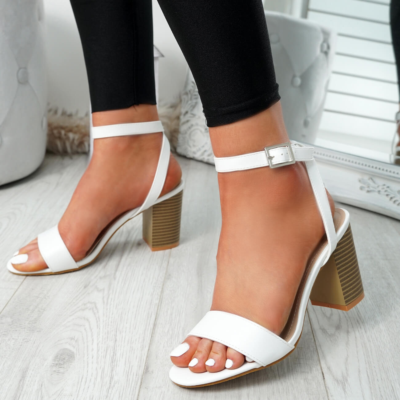 WOMENS-LADIES-PEEP-TOE-HIGH-BLOCK-HEEL-SANDALS-ANKLE-STRAP-PARTY-SHOES-SIZE thumbnail 20