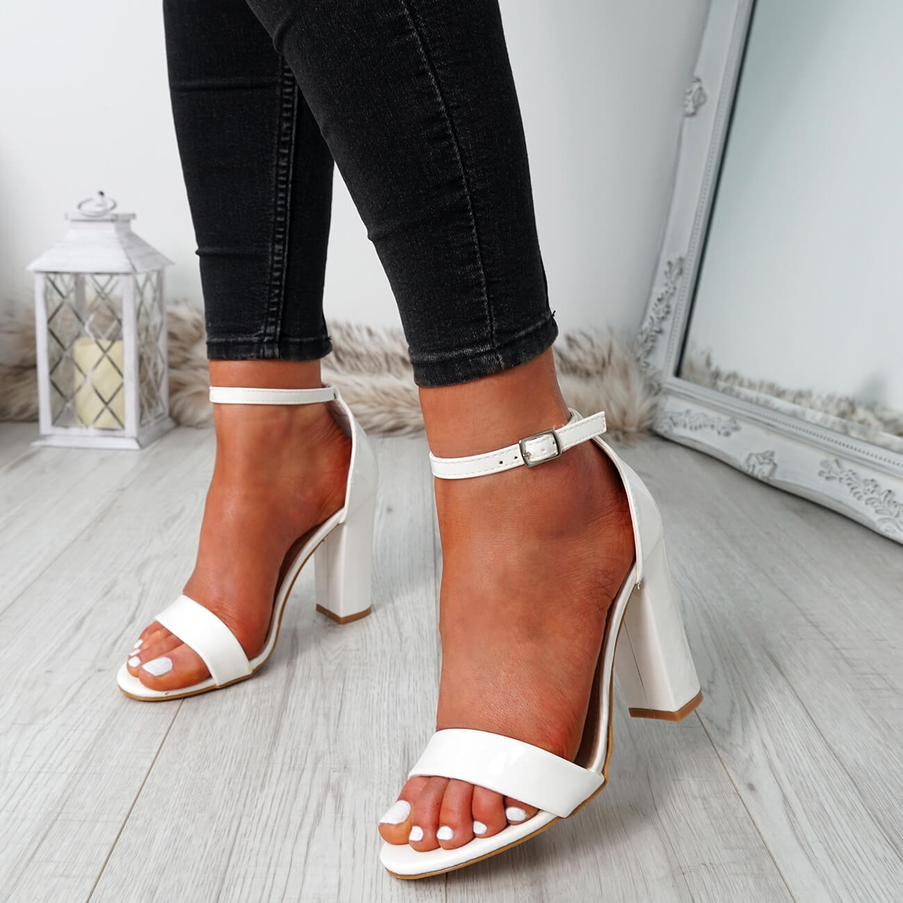 WOMENS-LADIES-ANKLE-STRAP-HIGH-BLOCK-HEEL-SANDALS-PEEP-TOE-PARTY-SHOES-SIZE thumbnail 30