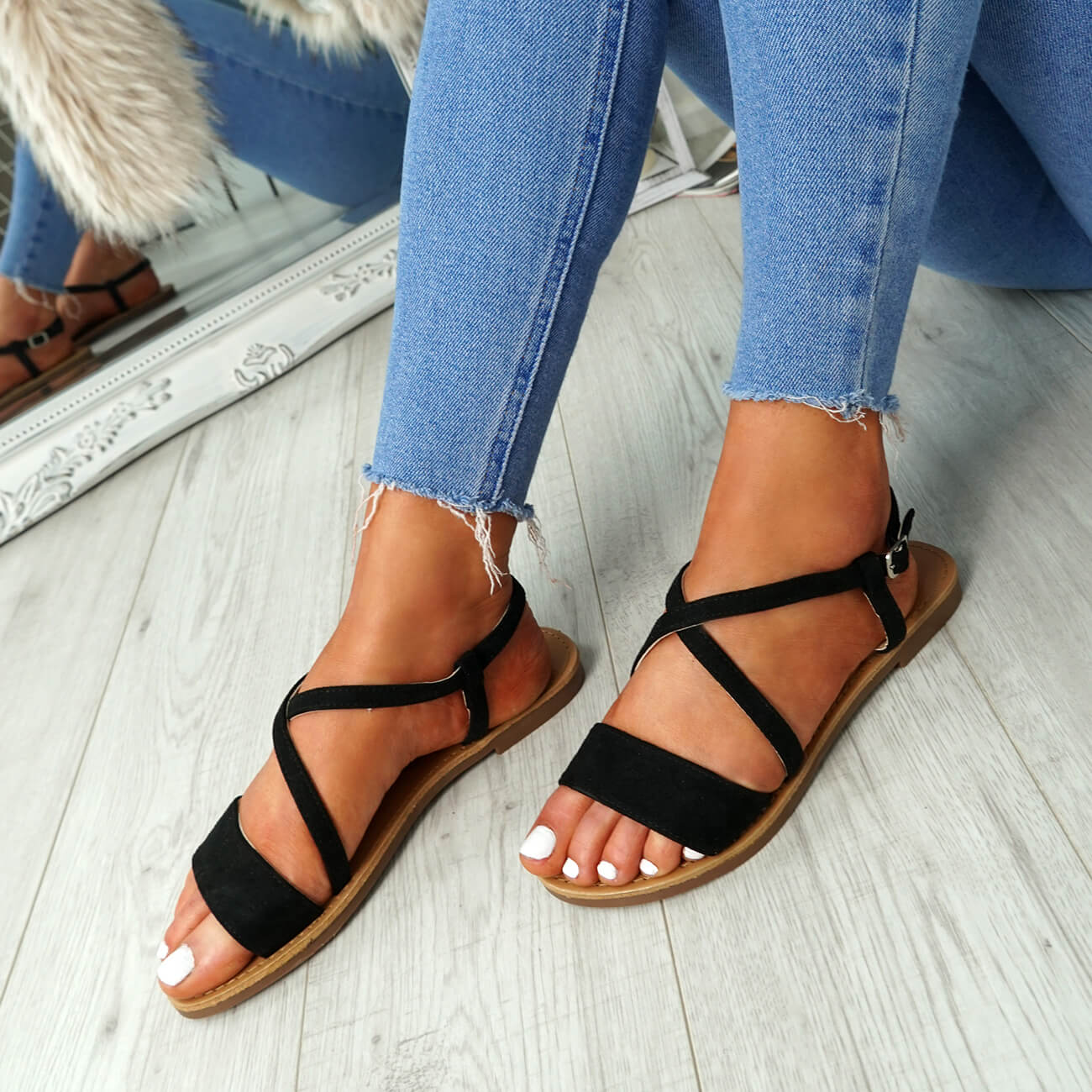 WOMENS-LADIES-ANKLE-STRAP-PEEP-TOE-FLAT-SANDALS-COMFY-SUMMER-SHOES-SIZE thumbnail 9
