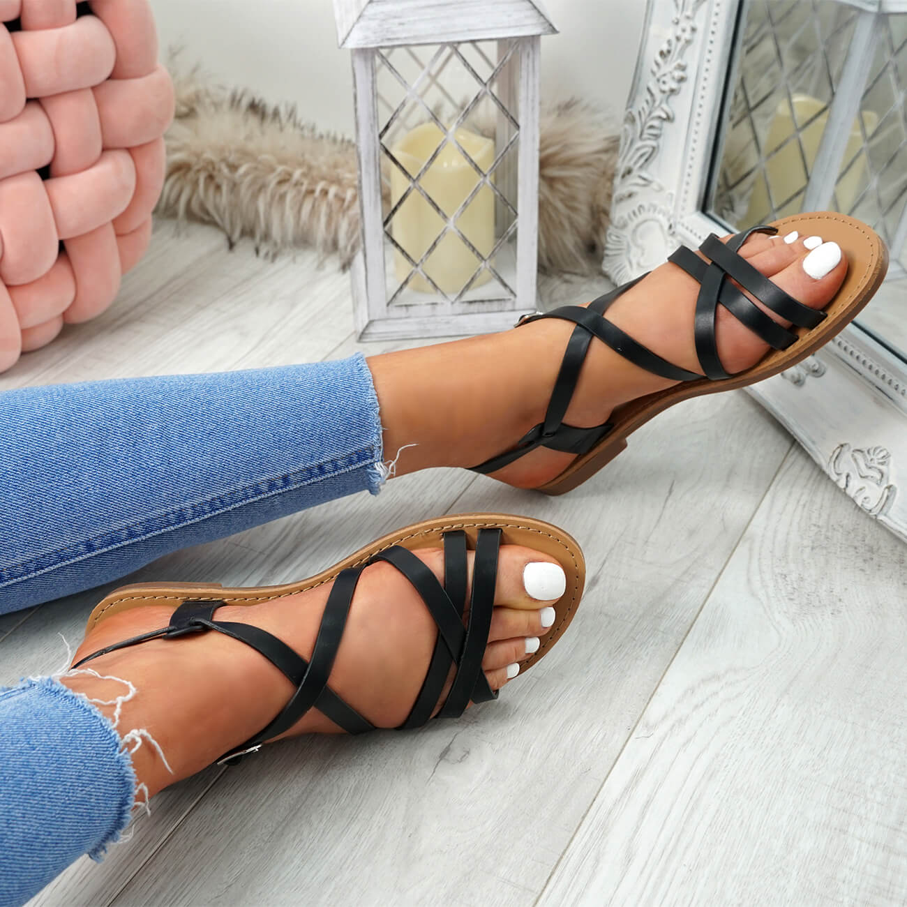 WOMENS-LADIES-ANKLE-STRAP-PEEP-TOE-BUCKLE-FLAT-SANDALS-SUMMER-CASUAL-SHOES thumbnail 9