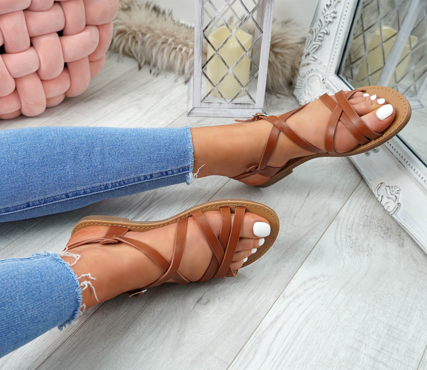 WOMENS-LADIES-ANKLE-STRAP-PEEP-TOE-BUCKLE-FLAT-SANDALS-SUMMER-CASUAL-SHOES thumbnail 13