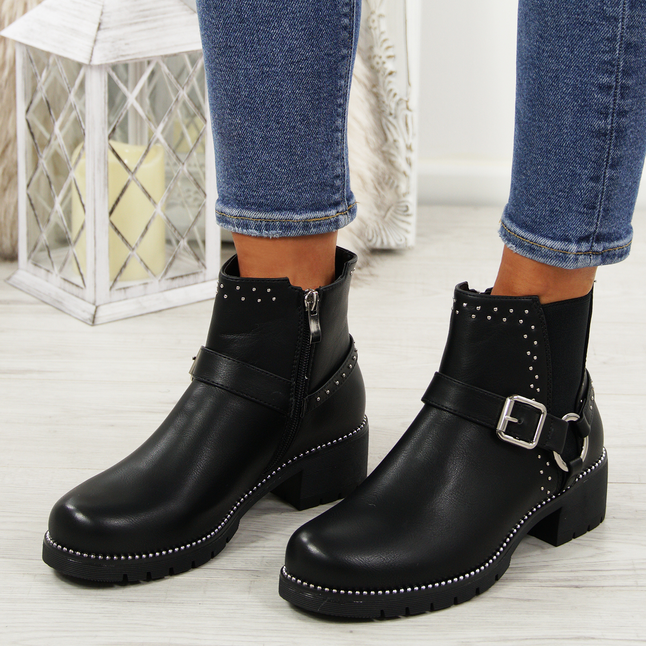 cb4ace82be05 LADIES STUDDED ANKLE BOOTS WOMENS BUCKLE CHELSEA LOW HEEL GRIP SHOES ...