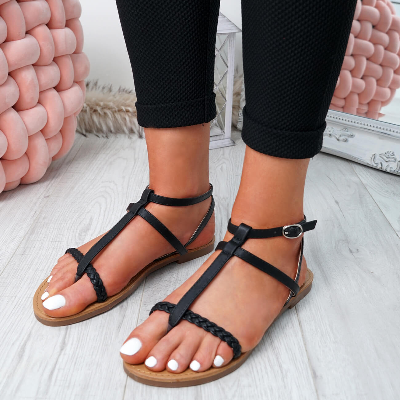 WOMENS-LADIES-T-STRAP-FLAT-SANDALS-BUCKLE-CASUAL-SUMMER-SHOES-SIZE-UK thumbnail 8