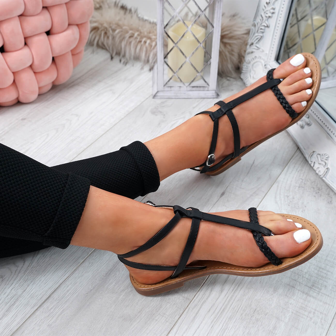WOMENS-LADIES-T-STRAP-FLAT-SANDALS-BUCKLE-CASUAL-SUMMER-SHOES-SIZE-UK thumbnail 10