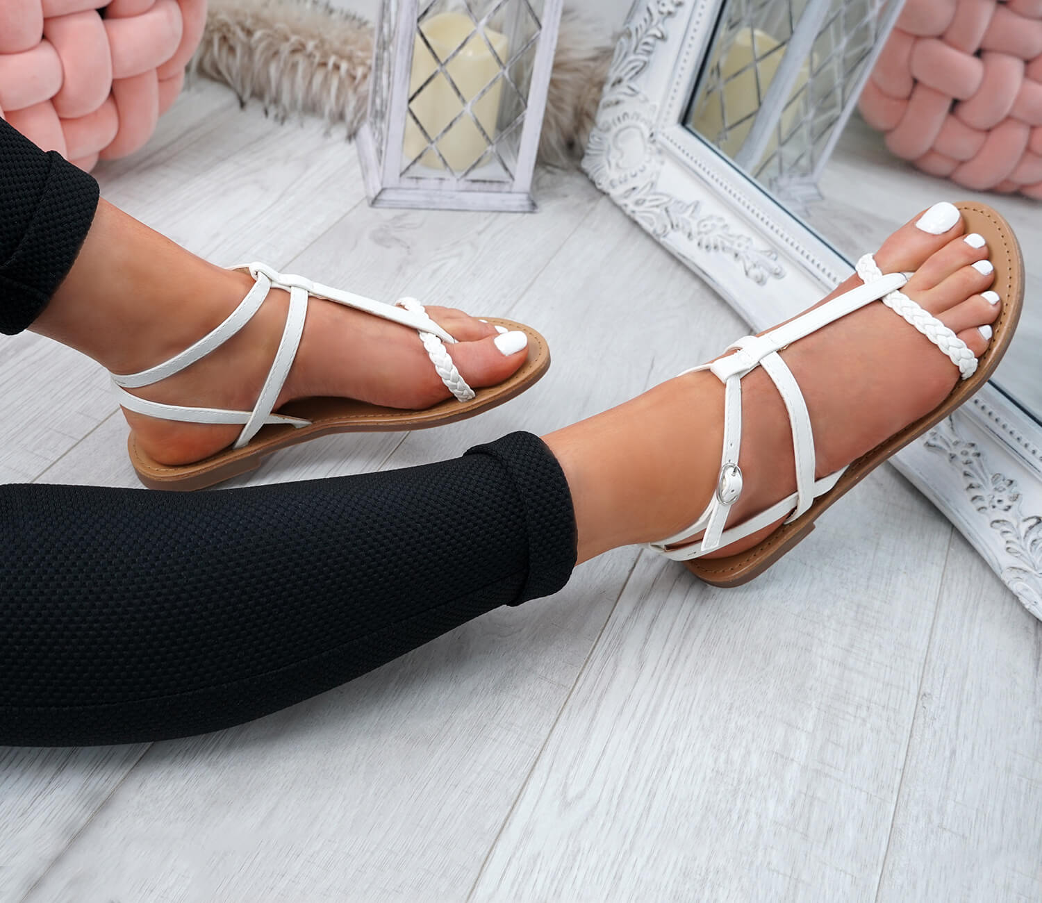 WOMENS-LADIES-T-STRAP-FLAT-SANDALS-BUCKLE-CASUAL-SUMMER-SHOES-SIZE-UK thumbnail 34