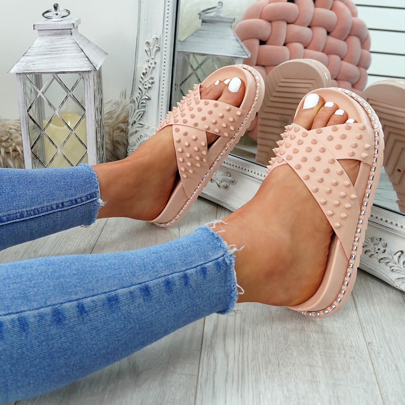 WOMENS-LADIES-SPIKE-STUDS-PEEP-TOE-FLAT-SANDALS-FLIP-FLOPS-SLIP-ON-SHOES-SIZE thumbnail 15