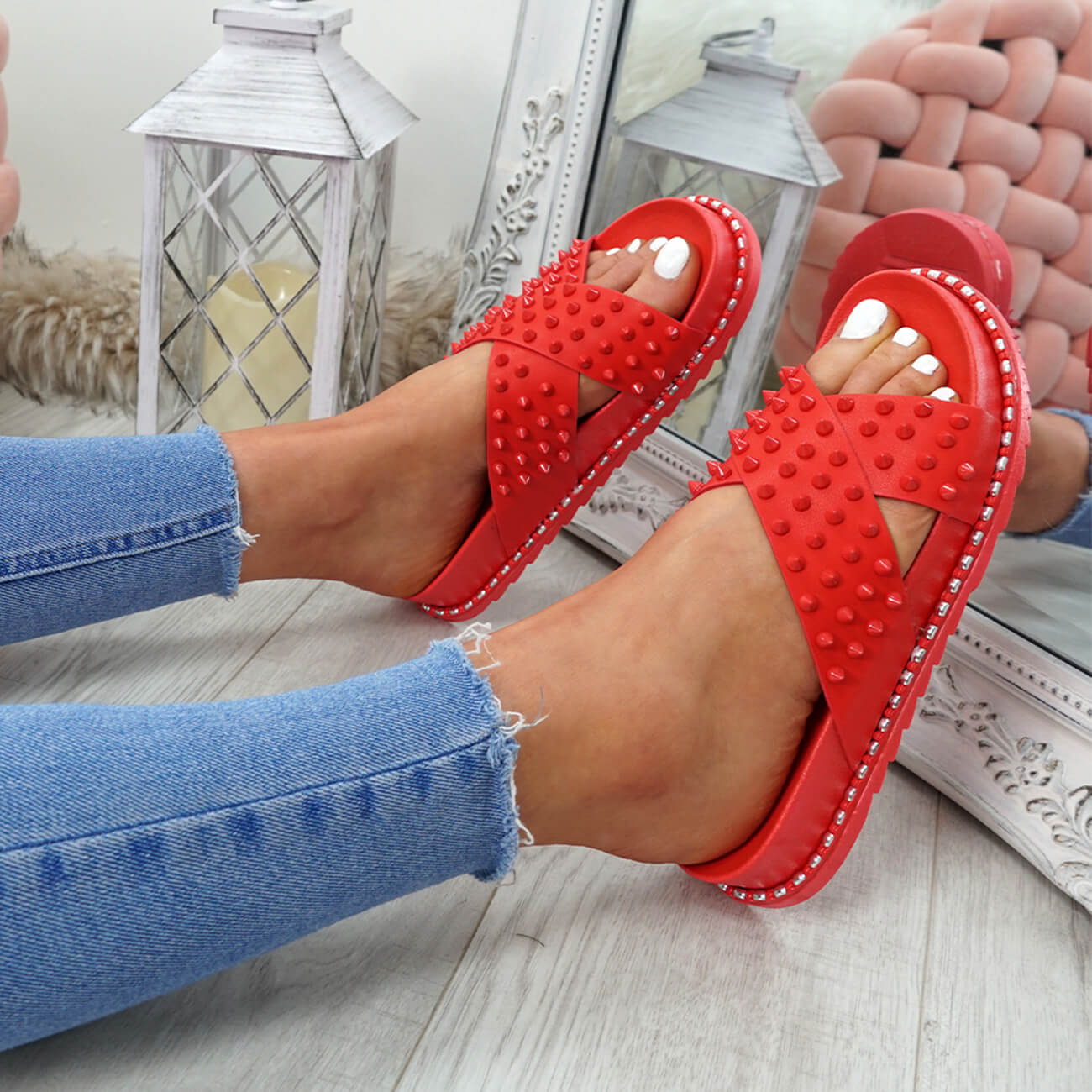 WOMENS-LADIES-SPIKE-STUDS-PEEP-TOE-FLAT-SANDALS-FLIP-FLOPS-SLIP-ON-SHOES-SIZE thumbnail 19
