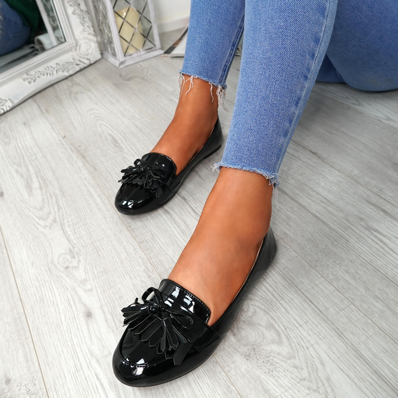 WOMENS-LADIES-FRINGE-BALLERINAS-SLIP-ON-FLAT-DOLLY-PUMPS-CASUAL-SMART-SHOES-SIZE thumbnail 9