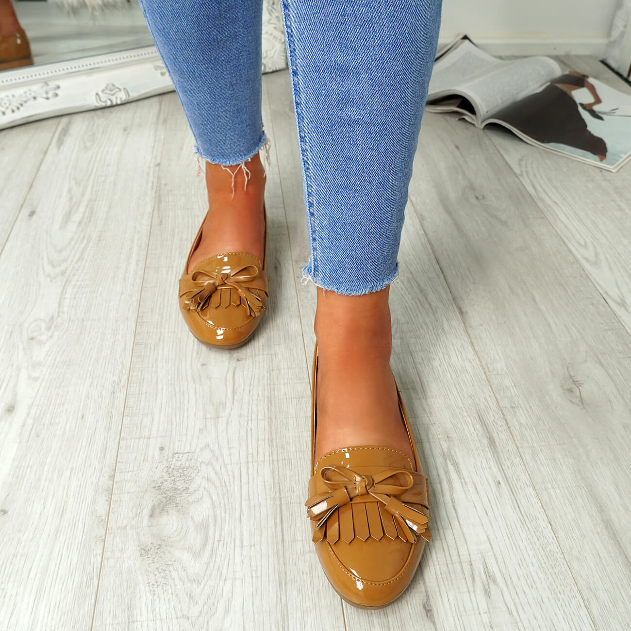 WOMENS-LADIES-FRINGE-BALLERINAS-SLIP-ON-FLAT-DOLLY-PUMPS-CASUAL-SMART-SHOES-SIZE thumbnail 12