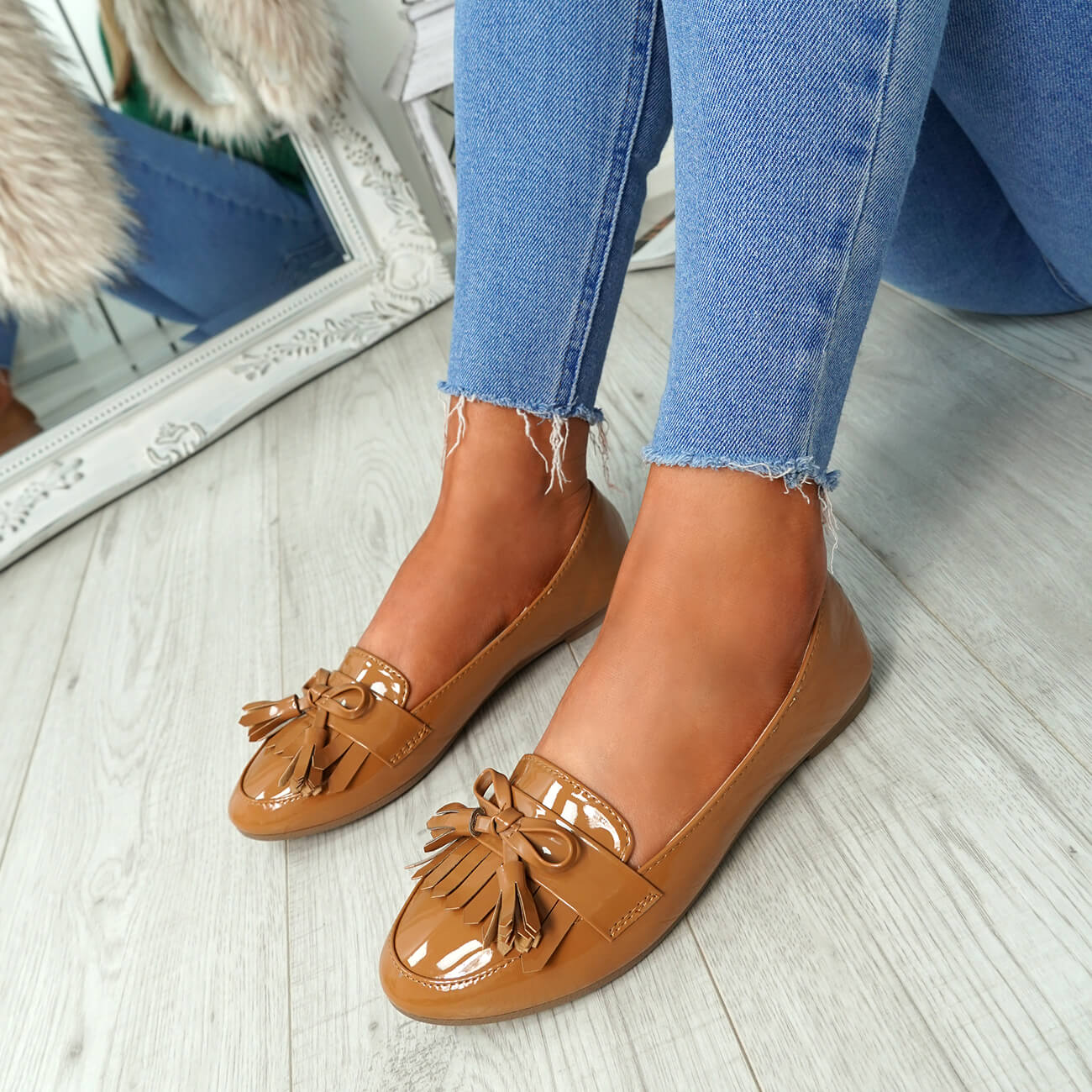 WOMENS-LADIES-FRINGE-BALLERINAS-SLIP-ON-FLAT-DOLLY-PUMPS-CASUAL-SMART-SHOES-SIZE thumbnail 13