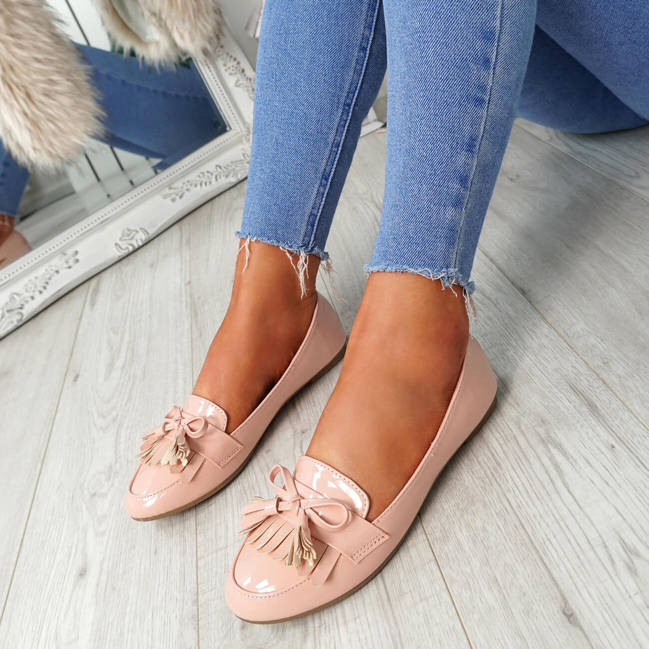 WOMENS-LADIES-FRINGE-BALLERINAS-SLIP-ON-FLAT-DOLLY-PUMPS-CASUAL-SMART-SHOES-SIZE thumbnail 23