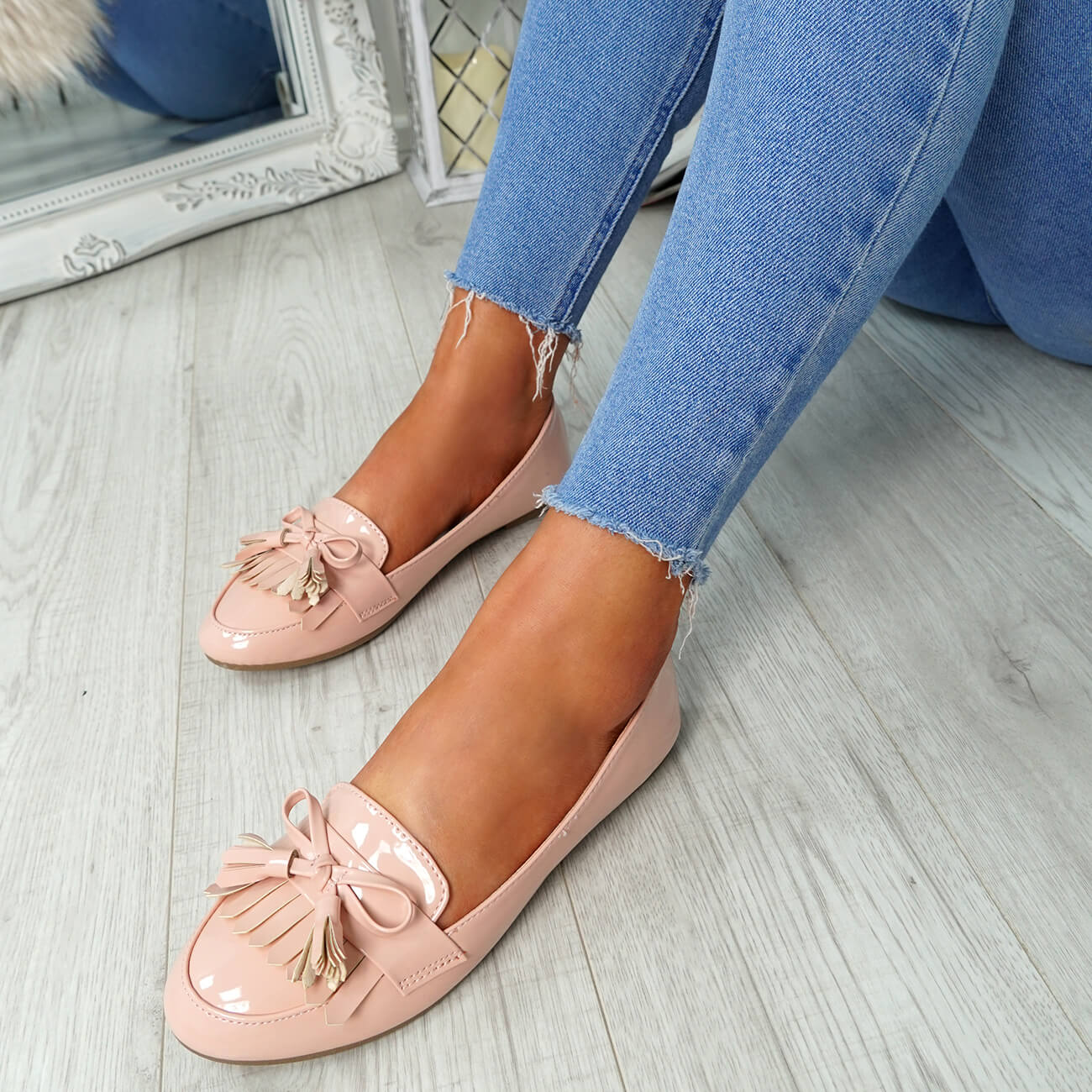 WOMENS-LADIES-FRINGE-BALLERINAS-SLIP-ON-FLAT-DOLLY-PUMPS-CASUAL-SMART-SHOES-SIZE thumbnail 24