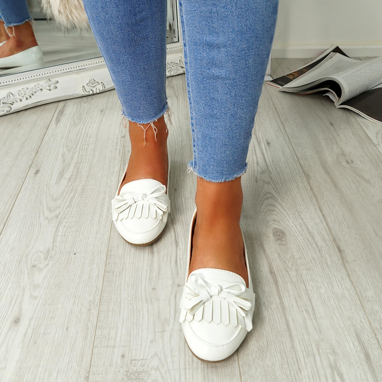 WOMENS-LADIES-FRINGE-BALLERINAS-SLIP-ON-FLAT-DOLLY-PUMPS-CASUAL-SMART-SHOES-SIZE thumbnail 32