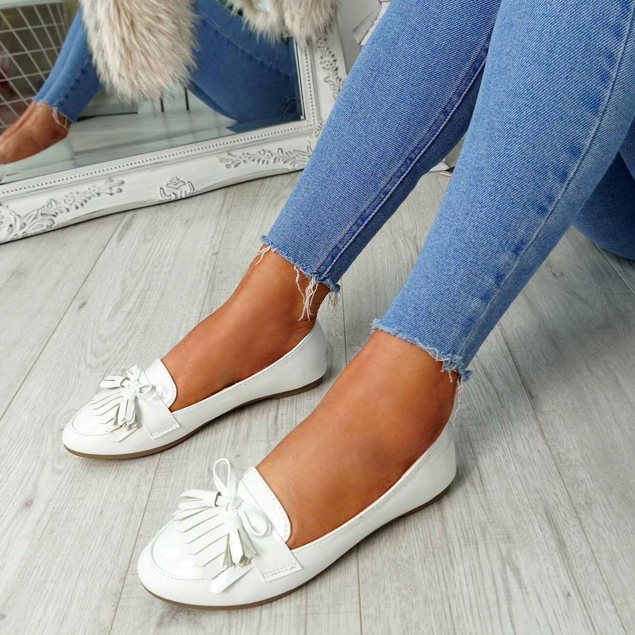 WOMENS-LADIES-FRINGE-BALLERINAS-SLIP-ON-FLAT-DOLLY-PUMPS-CASUAL-SMART-SHOES-SIZE thumbnail 33