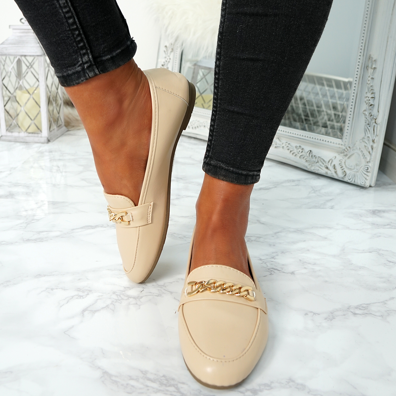 WOMENS-LADIES-CHAIN-SLIP-ON-BALLERINA-LOAFERS-BALLET-DOLLY-PUMPS-SHOES-SIZE thumbnail 7