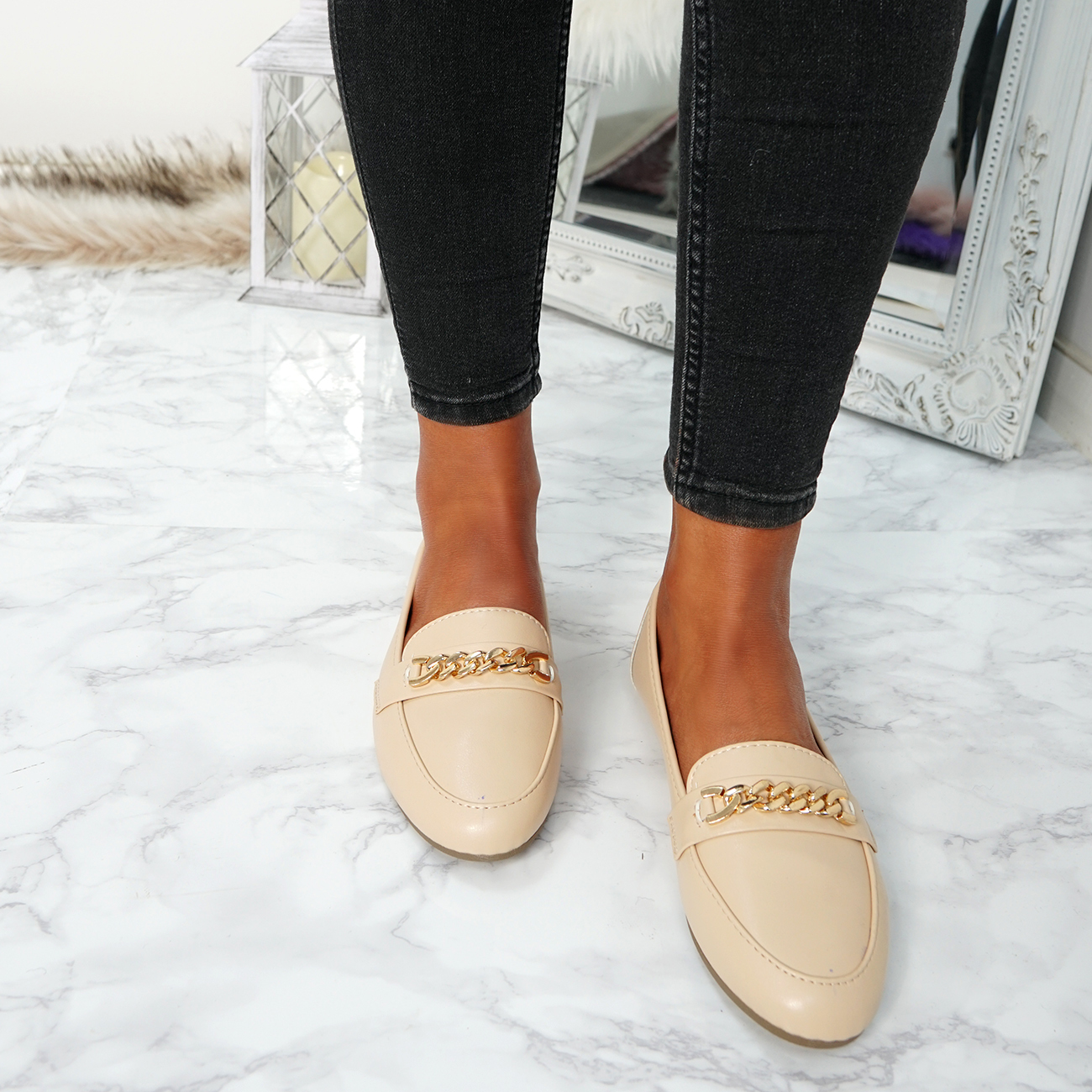 WOMENS-LADIES-CHAIN-SLIP-ON-BALLERINA-LOAFERS-BALLET-DOLLY-PUMPS-SHOES-SIZE thumbnail 10