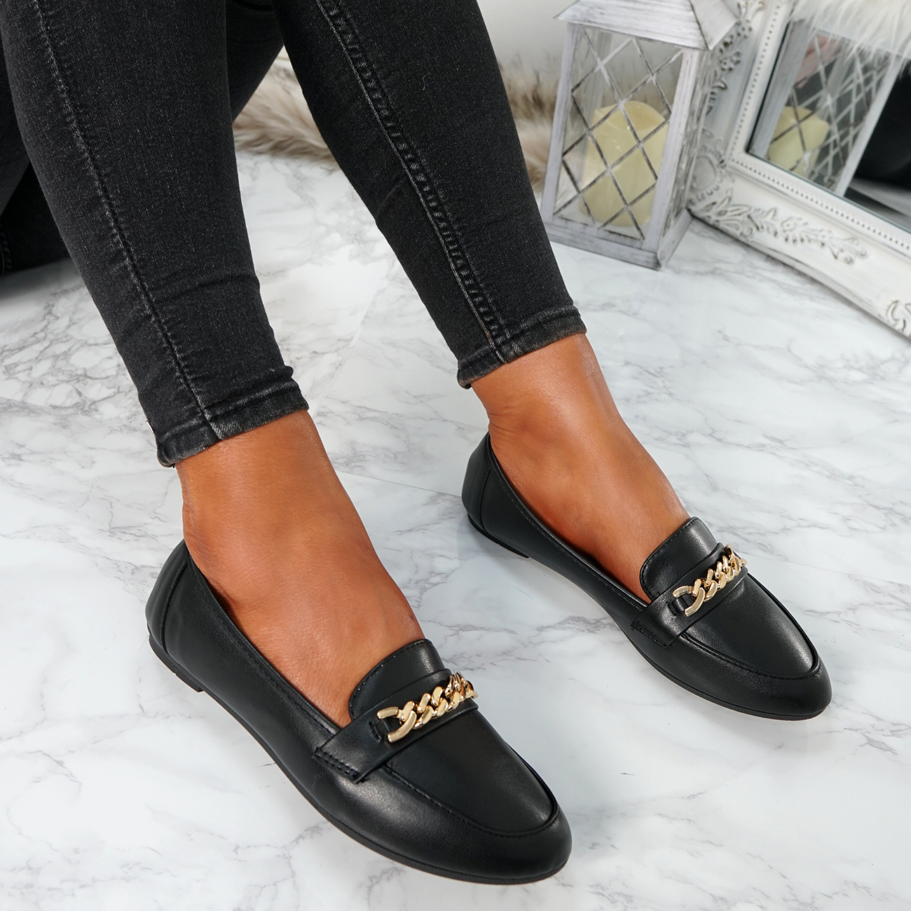 WOMENS-LADIES-CHAIN-SLIP-ON-BALLERINA-LOAFERS-BALLET-DOLLY-PUMPS-SHOES-SIZE thumbnail 13