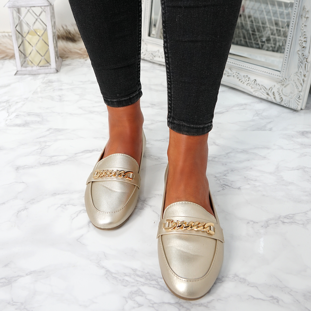 WOMENS-LADIES-CHAIN-SLIP-ON-BALLERINA-LOAFERS-BALLET-DOLLY-PUMPS-SHOES-SIZE thumbnail 27