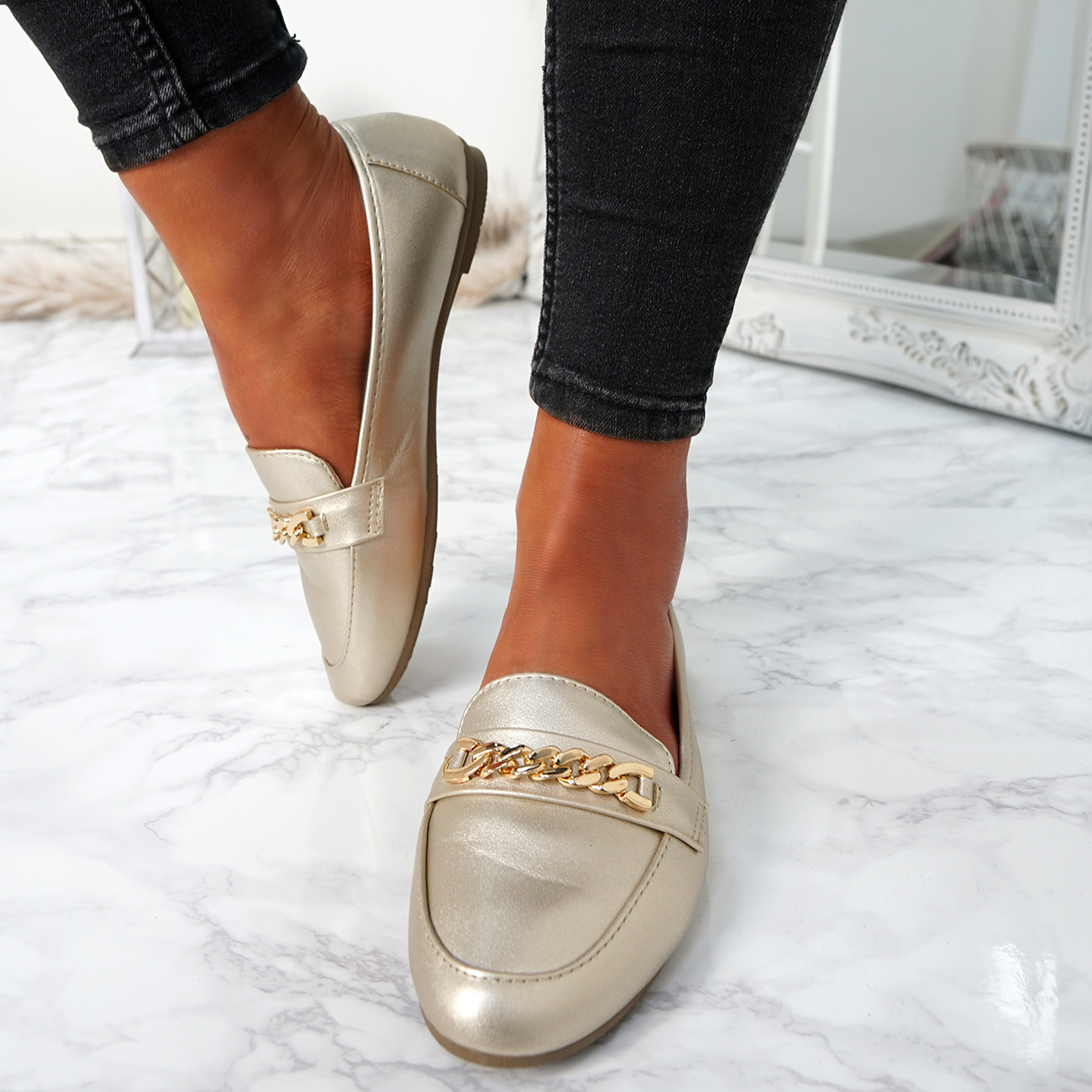 WOMENS-LADIES-CHAIN-SLIP-ON-BALLERINA-LOAFERS-BALLET-DOLLY-PUMPS-SHOES-SIZE thumbnail 28