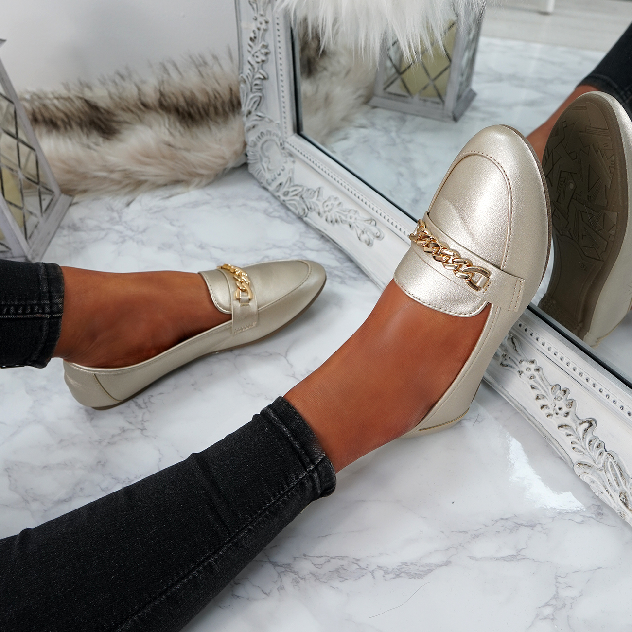 WOMENS-LADIES-CHAIN-SLIP-ON-BALLERINA-LOAFERS-BALLET-DOLLY-PUMPS-SHOES-SIZE thumbnail 30