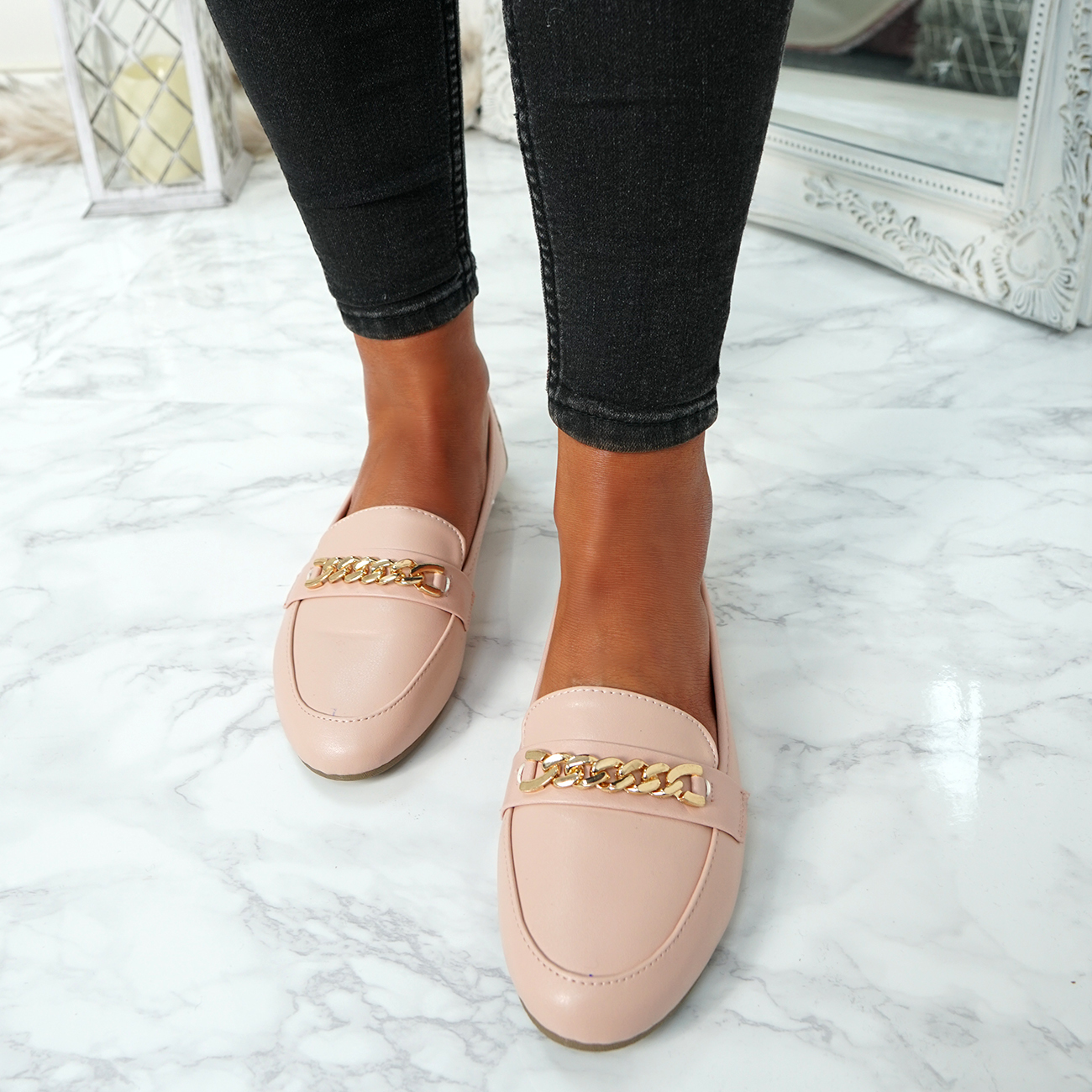 WOMENS-LADIES-CHAIN-SLIP-ON-BALLERINA-LOAFERS-BALLET-DOLLY-PUMPS-SHOES-SIZE thumbnail 32