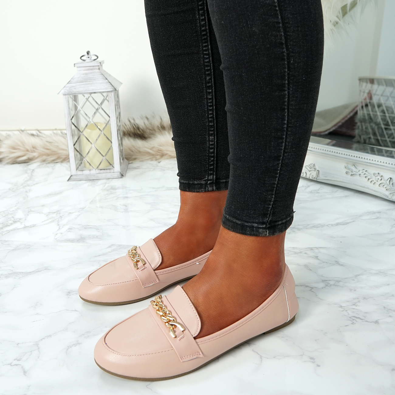 WOMENS-LADIES-CHAIN-SLIP-ON-BALLERINA-LOAFERS-BALLET-DOLLY-PUMPS-SHOES-SIZE thumbnail 33