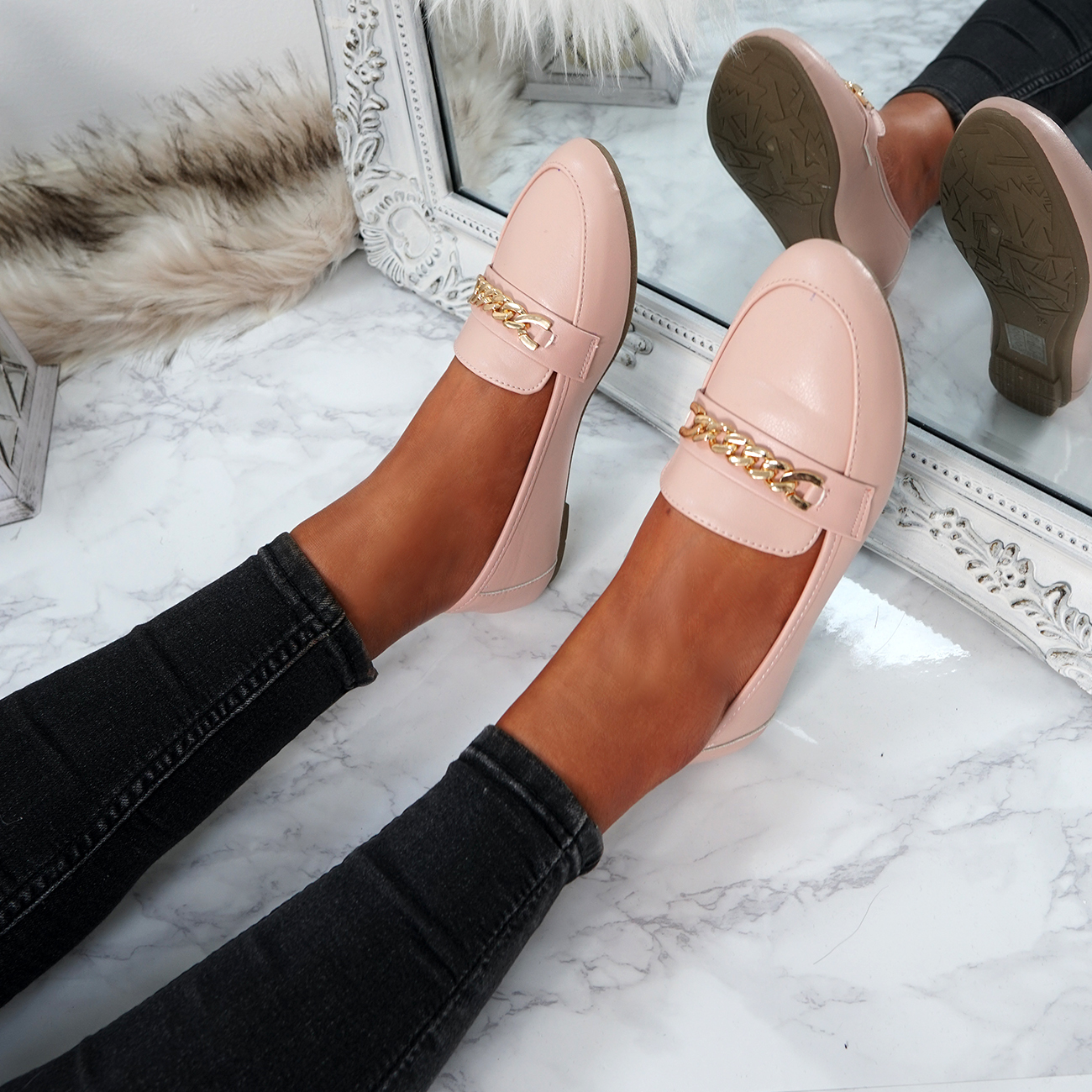 WOMENS-LADIES-CHAIN-SLIP-ON-BALLERINA-LOAFERS-BALLET-DOLLY-PUMPS-SHOES-SIZE thumbnail 34