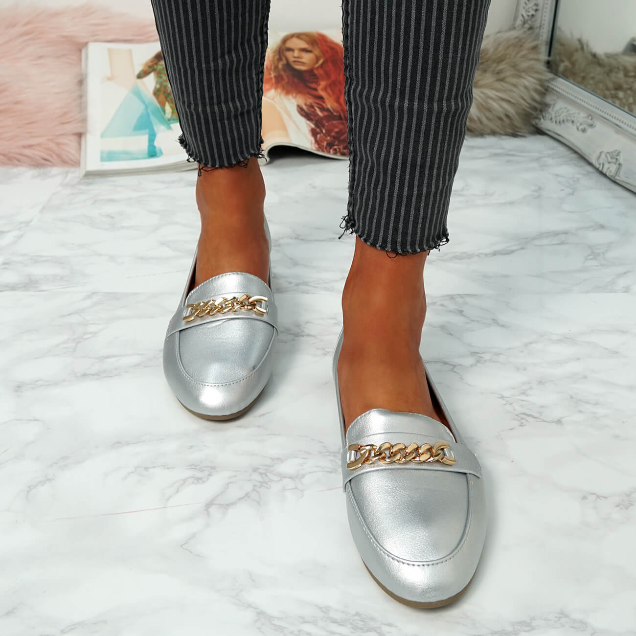 WOMENS-LADIES-CHAIN-SLIP-ON-BALLERINA-LOAFERS-BALLET-DOLLY-PUMPS-SHOES-SIZE thumbnail 37