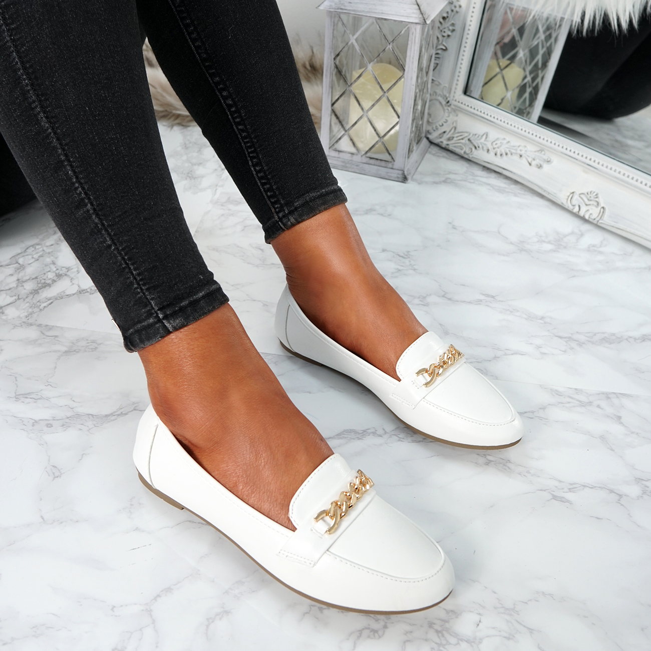 WOMENS-LADIES-CHAIN-SLIP-ON-BALLERINA-LOAFERS-BALLET-DOLLY-PUMPS-SHOES-SIZE thumbnail 43